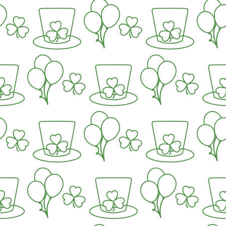 Vector seamless pattern Happy St. Patrick's Day illustration Ireland Shamrock Hat Balloon Irish Holiday Party Festive background Design for greeting card, fabric, print, wrapping paper Vettoriali