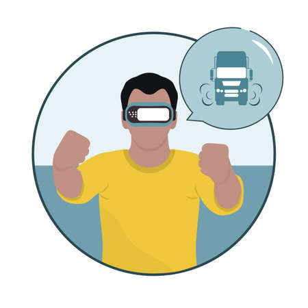 Vector Illustration Man wearing virtual reality 3d glasses playing in virtual reality simulating car driving VR headset VR simulation Gaming Modern entertainment Augmented reality visualize creation