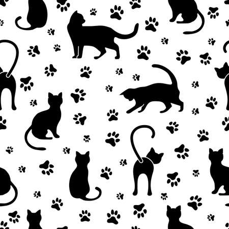 Vector seamless pattern illustration with fun cat. Animal background. Health care, vet, nutrition, exhibition. Design for fabric, print, wrapping paper or print.
