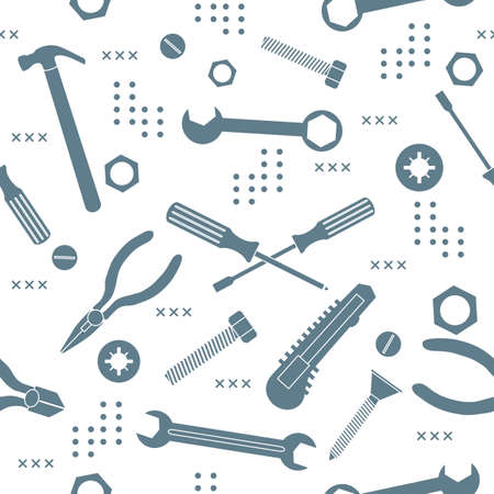 Vector seamless pattern Illustration Construction tools. Repair background. Pliers for gripping, manipulating, wrench, screwdriver, bolt, washer, nut, hammer, knife. Building. Design print