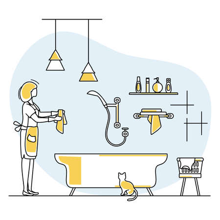 Vector illustration Apartment House Cleaning Maid service Woman washing plumbing in bathroom. Professional hygiene service for domestic household chores. Housekeeping business Design Website App Print Vettoriali