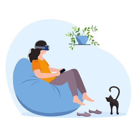 Vector Illustration Woman wearing virtual reality 3d glasses Travel, holiday trip, tour, watching movie. VR headset. Property VR simulation. Modern entertainment. Augmented reality visualize creation