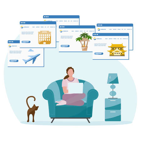 Vector illustration People book vacation on laptop. Travel or journey planning. Plan holiday route. Online concept. Internet e-commerce, travel technology. Resort. Tourism. Design for website, print