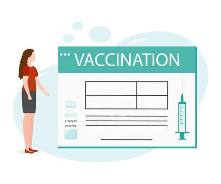 Vector illustration People Syringe Vaccine coronavirus Immunization Adult Vaccination calendar Vaccination information Healthcare Public health program Medical support service Design for web app print
