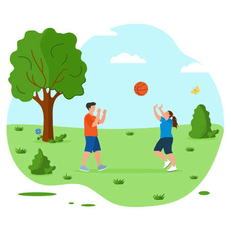 Vector illustration People playing volleyball in nature. Summer vacations outdoor. Having Fun. Sport games in city park. Physical activity outdoors. Design for print.