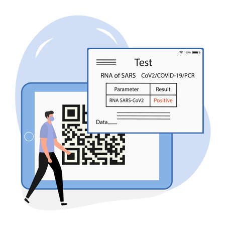 Vector illustration 2021 People Positive coronavirus test result on device New normal after COVID-19 pandemic Test for virus infection Immunity Health Passport QR code Medicine Design for web, print Vettoriali