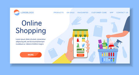 Vector illustration Online household supplies store. Household cleaning items and products order for delivery. Shopping supplies online. Shop online from home. Ordering in application on cell phone
