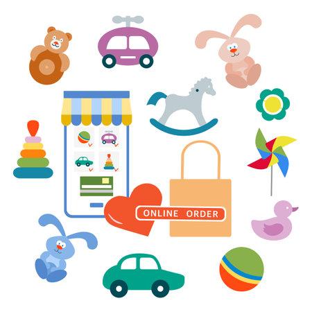 Vector illustration Online order Kid toys Happy childhood Gaming items Pinwheel, car, pyramid, ball, rocking horse, rattle, tumbler, rabbit, duck Primary school Elementary grade Kindergarten Game Play