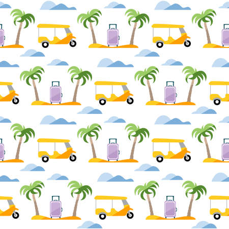 Seamless pattern. Travel vector illustration. Vacation at sea. Summer rest. Holiday. Adventure. Cruise. Tuk-tuk, palm tree, suitcase. Design for print