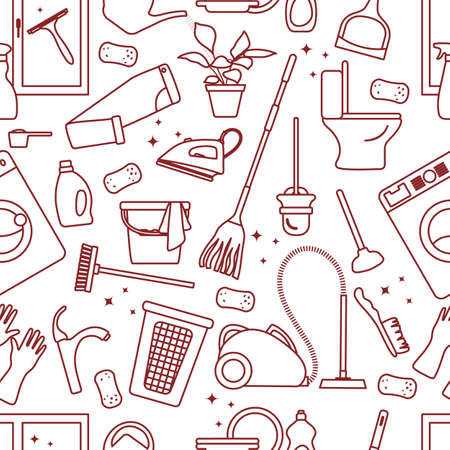 Vector Seamless pattern Illustration Cleaning Maid service Housekeeping Washing machine Mop Watering can Iron Vacuum cleaner Professional hygiene service for domestic household chores Design Print