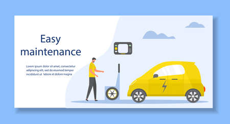 Vector illustration Repair, service, maintenance of electric car. Green energy. New transport eco technologies. ECO friendly. Environmental Protection. Zero emission. Design for web, print Vettoriali