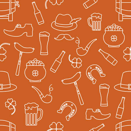 Irish Vector seamless pattern Happy St. Patrick's Day illustration Ireland Shamrock Horseshoe Smoking pipe Beer Leprechaun's shoe Sausage Pot of gold Mustache Hat Holiday Party Festive Design Print