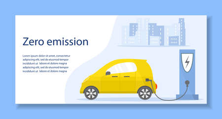 Vector illustration Electric car. Green energy. New transport eco technologies. ECO friendly. Ecology. Environmental Protection. Zero emission. Easy maintenance. Design for web, landing page, print Vettoriali