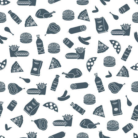 Vector Food Seamless pattern Illustration Cooking Fast food Snack Picnic Harmful eating habits Unhealthy lifestyle Sausage Hamburger Cheese Pizza French fries Chips Hotdog Ham Chicken Design for print Vettoriali