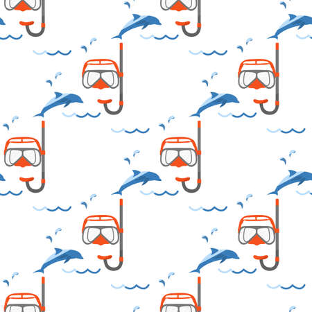 Vector seamless pattern Illustration Vacation at the sea. Diving mask, snorkel, dolphin. Travel. Summer rest. Recreation. Design for print Vettoriali