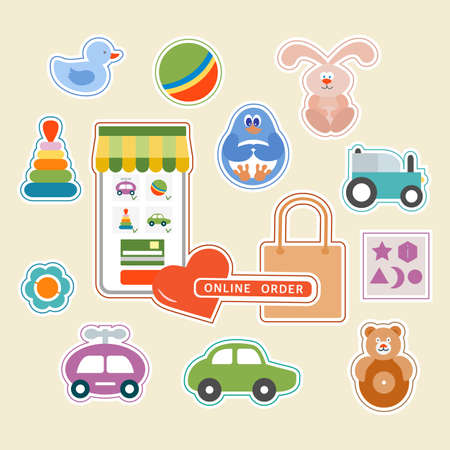 Vector illustration Stickers pack Online order Kid toy Happy childhood Gaming items Cars Pyramid Ball Rattle Tumbler Rabbit Duck Penguin Sorter Primary school Elementary grade Kindergarten Game Play