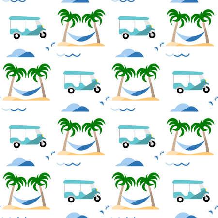 Seamless pattern. Travel vector illustration. Vacation at sea. Summer rest. Holiday. Adventure. Cruise. Tuk-tuk, palm tree, hammock. Design for print