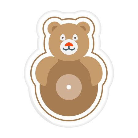 Vector illustration Kid toys Sticker Tumbler Roly-poly toy bear. Primary school, elementary grade, kindergarten. Happy childhood. Activity. Game. Play. Design for print Ilustração