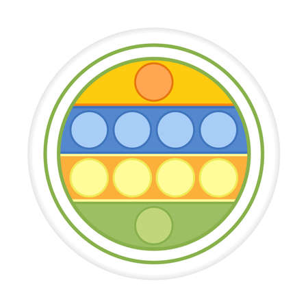 Vector illustration Kid sensory toys Sticker Pop it. Bubble fidget. Popular funny anti stress game. Play. Relax. Primary school, elementary grade, kindergarten. Happy childhood. Design for print