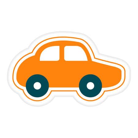 Vector illustration Kid toys Sticker Car. Primary school, elementary grade, kindergarten. Happy childhood. Activity. Game. Play. Automobile Vehicle Transportation Design for print Ilustração