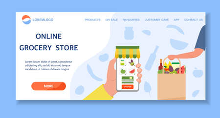 Vector illustration Online Grocery store. Ordering food in application on cell phone. Contactless delivery of products. Grocery bag. Courier. Order online. Shopping concept Design for website, print