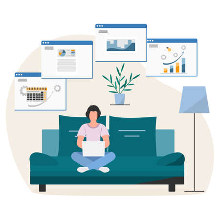 Vector illustration Remote work People work at laptop. Coronavirus COVID-19 Office at home Remote access Freelance Working remotely Studying Online concept Design for web print Ilustração