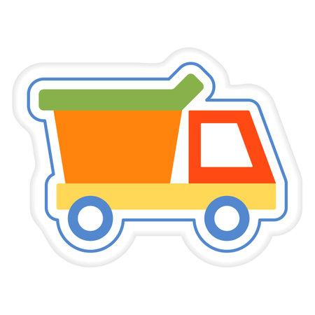 Vector illustration Kid toys Sticker Dump truck Tipper. Primary school, elementary grade, kindergarten. Happy childhood. Activity. Game. Play. Automobile Car Vehicle Transportation Design for print