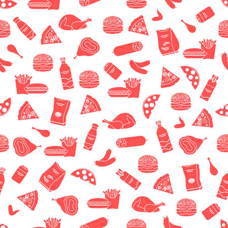 Vector Food Seamless pattern Illustration Cooking Fast food Snack Picnic Harmful eating habits Unhealthy lifestyle Sausage Hamburger Cheese Pizza French fries Chips Hotdog Ham Chicken Design for print Ilustração