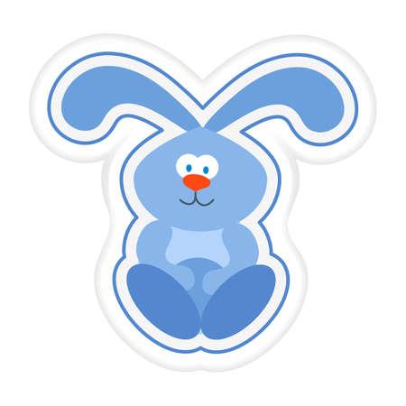 Vector illustration Kid toys Sticker Hare rabbit Bunny Primary school, elementary grade, kindergarten. Happy childhood. Activity. Game. Play. Design for print