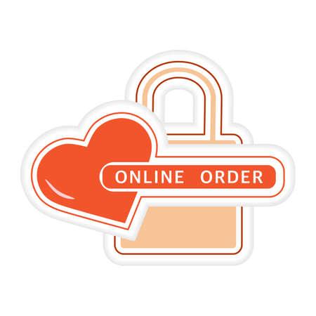 Vector illustration Sticker Online order Purchase Sale Shopping Store Shop Design for print Ilustração