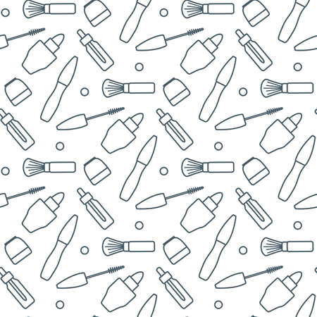 Vector seamless pattern Illustration Lipstick Brush Mascara Cream Oil. Decorative Cosmetics, makeup background. Beauty design. Glamor fashion vogue style. Design for textile, wrapping, print