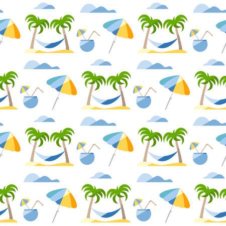 Seamless pattern. Travel vector illustration. Vacation at sea. Summer rest. Holiday. Adventure. Cruise. Cocktail, palm tree, hammock, beach umbrella. Design for print