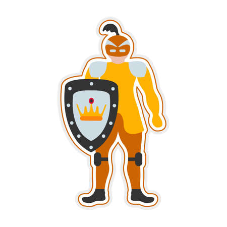 Vector illustration Kid toys Sticker Knight. Happy childhood background Activity Gaming items Primary school Elementary grade Kindergarten Game Theatrical costume. Museum exhibit Middle Ages