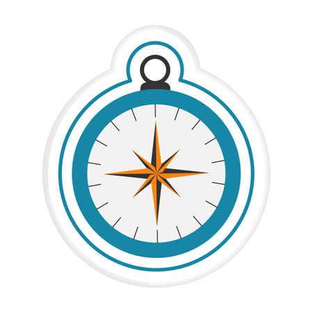 Vector illustration Sticker Magnetic classic round compass. Symbol of tourism, travel, outdoor activities, exploration. Design for print Ilustração