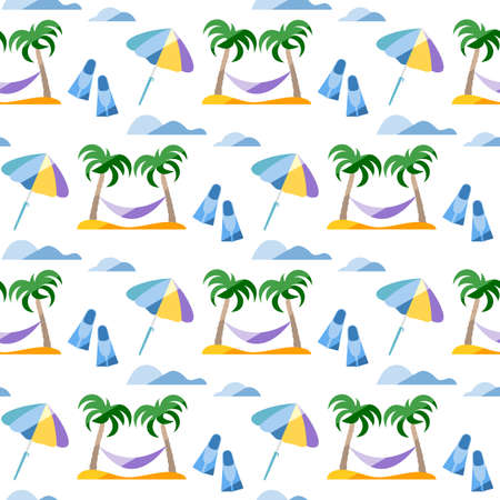Seamless pattern. Travel vector illustration. Vacation at sea. Summer rest. Holiday. Adventure. Cruise. Palm tree, hammock, beach umbrella, flippers. Design for print Ilustração