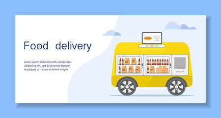 Vector illustration Fast food online order for delivery by self-driving transportation. Food delivery automated car, autonomous vehicle, driverless transport. Scientific, technical progress. Robot
