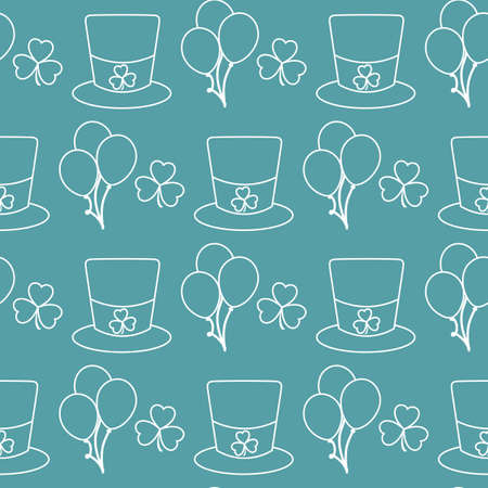 Vector seamless pattern Happy St. Patrick's Day illustration Ireland Shamrock Hat Balloon Irish Holiday Party Festive background Design for greeting card, fabric, print, wrapping paper Ilustração