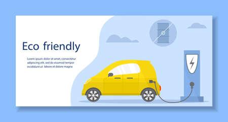Vector illustration Electric car. Green energy. New transport eco technologies. ECO friendly. Ecology. Environmental Protection. Zero emission. Easy maintenance. Design for web, landing page, print Ilustração