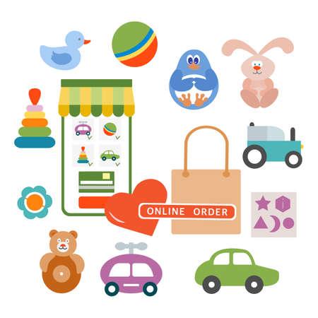 Vector illustration Online order Kid toys Happy childhood Gaming items Cars, pyramid, ball, rattle, tumbler, rabbit, duck, penguin, sorter Primary school Elementary grade Kindergarten Game Play Ilustração