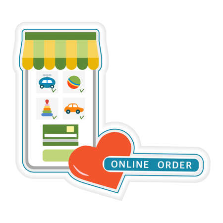 Vector illustration Sticker Online order. Online ordering toys by cellphone. Delivery at home. Happy childhood. Shopping Sale Purchase Design for print
