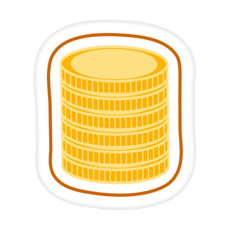 Vector illustration Sticker Stack of coins. Finance background Money Cash Payment Financial services Banking Design for print