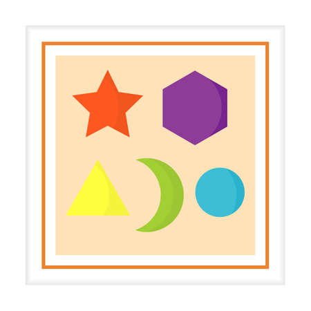 Vector illustration Kid toys sorter. Primary school, elementary grade, kindergarten. Happy childhood. Activity. Logic Game. Play. Design for print