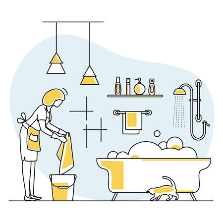 Vector illustration Apartment House Cleaning Maid service Woman washing plumbing in bathroom. Professional hygiene service for domestic household chores. Housekeeping business Design Website App Print Ilustração