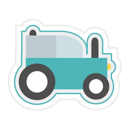 Vector illustration Kid toys Sticker Tractor Agrimotor. Primary school, elementary grade, kindergarten. Happy childhood. Activity. Game. Play. Automobile Car Vehicle Transportation Design for print