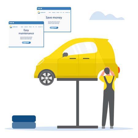 Vector illustration Repair, service, maintenance of electric car. Green energy. New transport eco technologies. ECO friendly. Environmental Protection. Zero emission. Design for web, print Ilustração