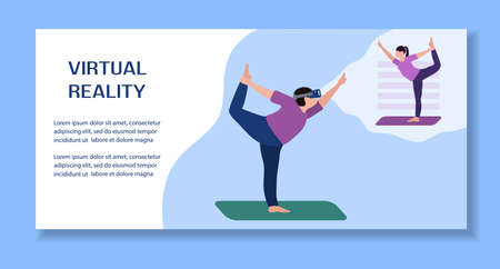 Vector Illustration Woman wearing virtual reality 3d glasses doing yoga with virtual instructor VR headset VR simulation Gaming Modern entertainment Augmented reality visualize creation Sport fitness