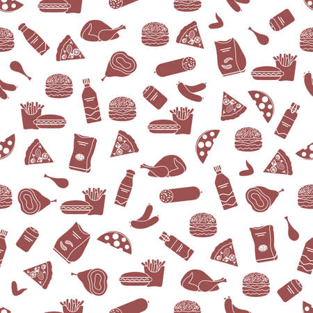 Vector Food Seamless pattern Illustration Cooking Fast food Snack Picnic Harmful eating habits Unhealthy lifestyle Sausage Hamburger Cheese Pizza French fries Chips Hotdog Ham Chicken Design for print 矢量图像