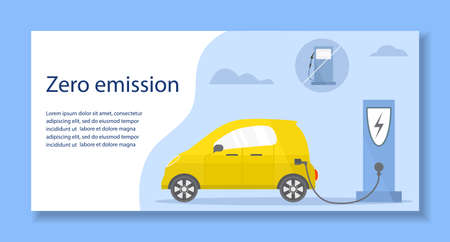Vector illustration Electric car. Green energy. New transport eco technologies. ECO friendly. Ecology. Environmental Protection. Zero emission. Easy maintenance. Design for web, landing page, print 矢量图像