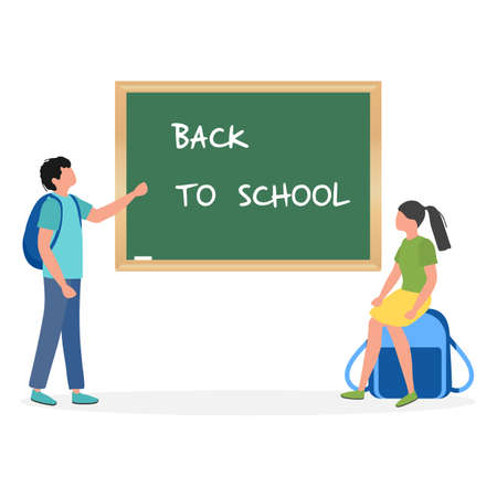 Vector illustration Children near chalkboard Elementary school pupils Schoolboy, schoolgirl excited to start school First day at school Back to school. Education concept Learning Design for web, print
