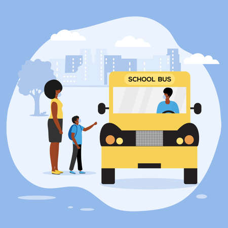 Vector illustration Back to school at virus Pandemic Parent see off child to School bus People wear masks. Elementary school pupil Schoolboy with schoolbag boarding into transport Transportation